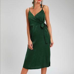 Evergreen Silk Wrap Dress